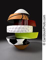 segmenté, fragmenting, sports, balle