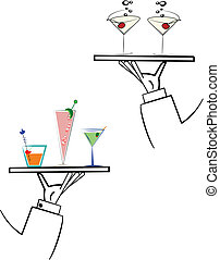 segmentar, brazos, camareros