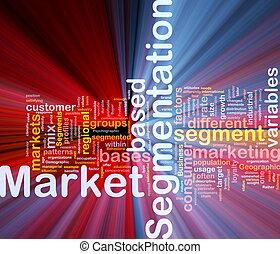 segmentation, begriff, markt, hintergrund, glühen