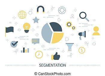 Segmentation concept. Idea of dividing people into segments...