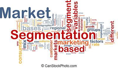 segmentation, concepto, mercado, plano de fondo