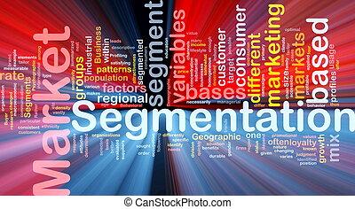 segmentation, concepto, mercado, plano de fondo, encendido