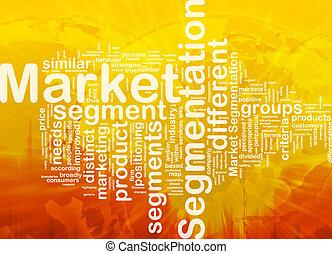 segmentation, concetto, mercato, fondo