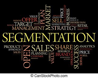 Segmentation word cloud collage, business concept background