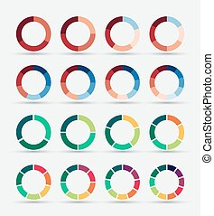 Segmented and multicolored pie charts set.