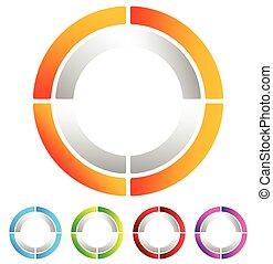 Segmented circle abstract icon. Circular geometric logo,...