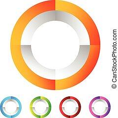 Segmented circle generic abstract icon, circular geometric logo in 4 colors.