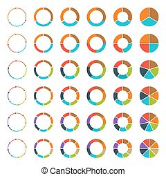 Segmented pie charts and arrows set. - Segmented and...