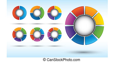 Segmented Spheres - Segmented and multicolored pie charts...