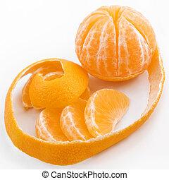 segmentos, aclarado, tangerina, casca
