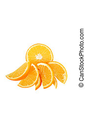 segmentos, aislado, cortar, fruta, plano de fondo, naranja, blanco