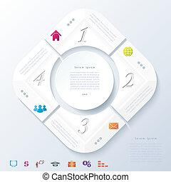 segments., abstract, vier, infographic, ontwerp, getallen, ontwerp, opleiding, web, witte , presentatie, zijn, gebruikt, workflow, opties, opmaak, illustratie, cirkel, diagram, grafisch, vector, groenteblik, of