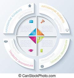 segments., abstratos, quatro, infographic, desenho, círculo