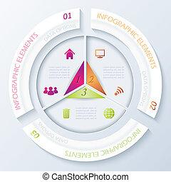 segments., abstratos, três, infographic, desenho, círculo