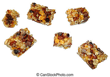 Segments of cereal bar, isolated