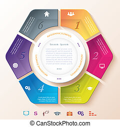 segments, six, infographic, conception, cercle, résumé