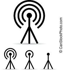 segnale, internet, antenna, icona