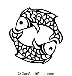 segnale oroscopo, simbolo., nero, pesci, zodiaco