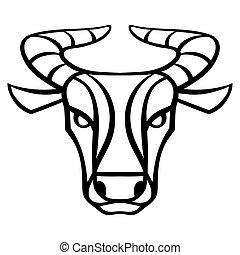 segnale oroscopo, simbolo., toro, nero, zodiaco
