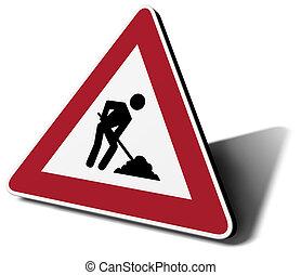segnale stradale, lavoro, in, progresso