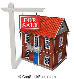 segnale vendita, davanti, casa nuova