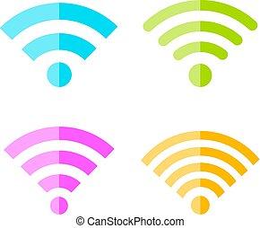 segnale, vettore, icona internet, wifi