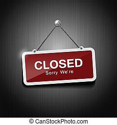 segni closed, appendere, con, catena
