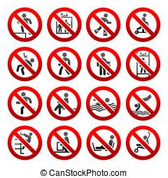 segni, set, proibito, icone