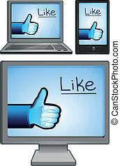 segni, set, tecnologia, come, icone
