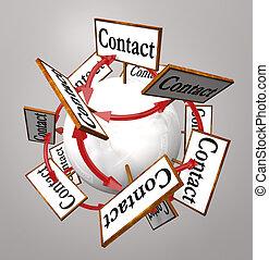 segni, sfera, contatto, arround, mondo, collegato