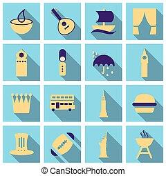 segni, viaggiare, illustrazione, simboli, vettore, turismo