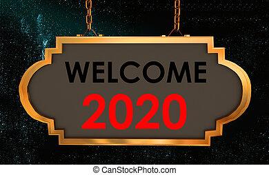 segno, -, 2020, 3d, testo, strada, fondo, interpretazione, dorato, benvenuto
