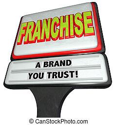 segno, affari, marca, fiducia, negozio catena, franchigia, ristorante, lei