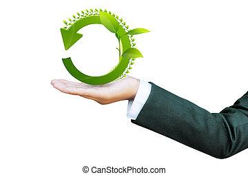 segno, affari, riciclare, donne, mondo, verde, mano, concetto
