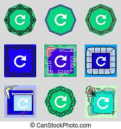 segno, aggiornamento, icon., rotazione, set, pieno, buttons., simbolo., freccia, colorito