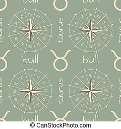 segno astrologia, bull., seamless, modello