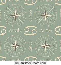 segno astrologia, crab., seamless, modello