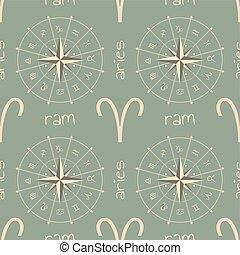 segno astrologia, ram., seamless, modello