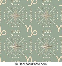 segno astrologia, seamless, goat., modello