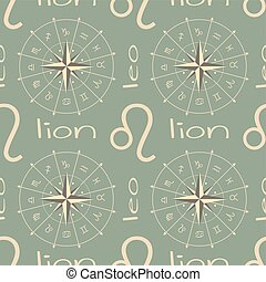 segno astrologia, seamless, lion., modello