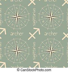 segno astrologia, seamless, modello, archer.