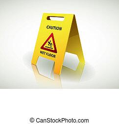 segno attenzione, -, pavimento bagnato