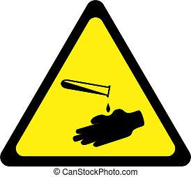 segno, avvertimento, corrosivo, giallo, sostanze