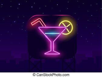 segno, banner., notte, sbarra, occhiali, ardendo, parete, gas, fondo., alcool, mattone, scuro, bere, mensa, club, shake., pubblicità, neon, cocktail, invitation.