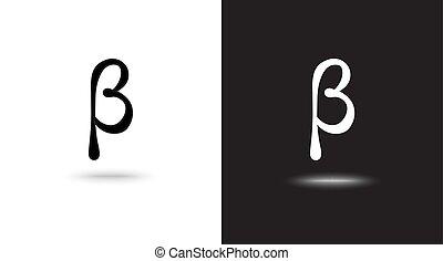 segno, beta, vettore, sfondo nero, bianco