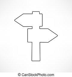 segno bianco, strada, icona