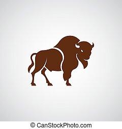segno, bisonte, logotipo, bufalo, pictogram, americano