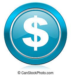 segno, blu, dollaro, ci, icona