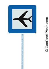 segno blu, isolato, aeroporto, traffico, signage, aeroplano, strada, icona