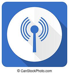 segno, blu, rete, wifi, fili, icona, appartamento